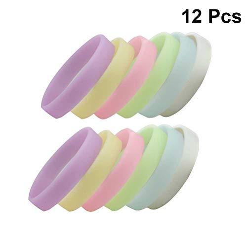 Toyvian Silikon Sport Armbänder Leucht Armbänder Glow in The Dark Bänder Party Gefälligkeiten Tasche Füllstoffe 12 Stücke