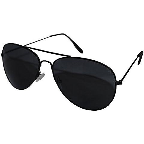 Marco negro lentes efecto espejo Top Gun estilo aviador gafas de sol unisex Negro Wayfarer Gafas de moda tonos elegante mundo ojo