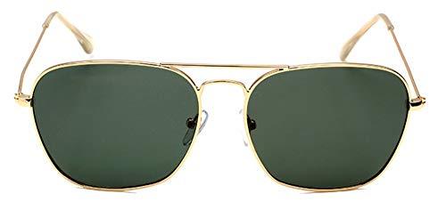 WSKPE Sonnenbrille Polarisierte Square Aviation Sonnenbrillen Herren Sonnenbrillen Gold Dunkel Grüne Linse Gerahmt