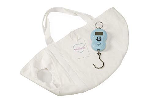 Emiltonia Babywaage mit Tuch, Digitalwaage, Wiegetasche bis 12 kg, 1 Stück, weiß