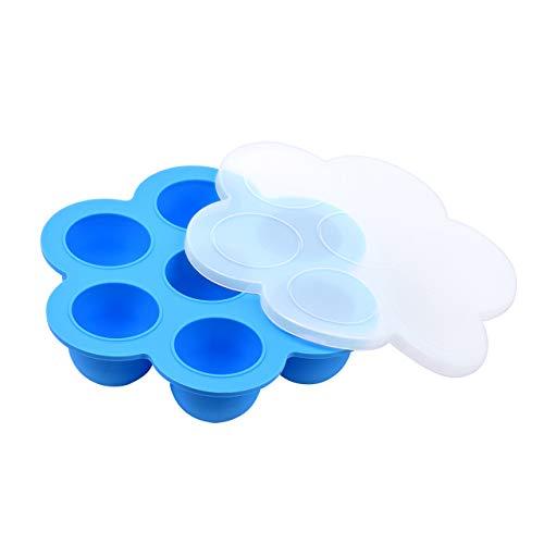 Magiin Silikon-Eier-Bissformen für Sofort-Topf-Zubehör, Baby-Lebensmittel-Gefrierdosen, Tabletts und Eiswürfelformen mit Silikondeckel für Mikrowelle und Kühlschrank