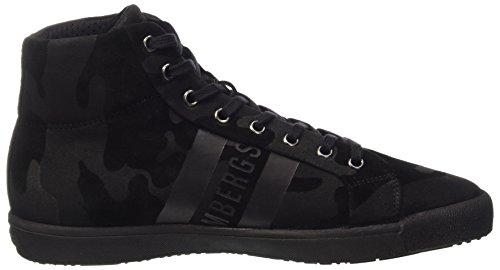 Bikkembergs Campus 732 Mid Shoe M Suede, Baskets Hautes Homme Noir - Nero (Camouflage Black)