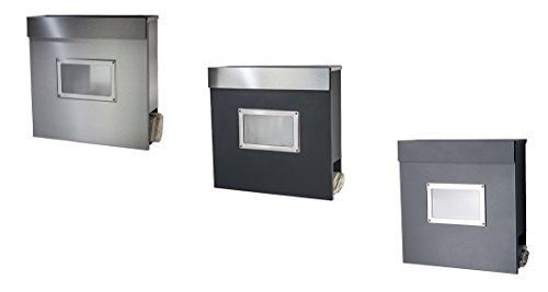 Designer Briefkasten / Mailbox / Modell 334ADS anthrazit RAL7016 – Deckel in Edelstahl mit Sichtfenster und Zeitungsfach / NUR 1 x VERSANDKOSTEN FÜR ALLE BESTELLUNGEN ZUSAMMEN ! - 3