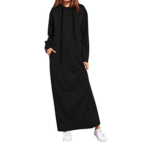 Bellelove,Mesdames capuche longue robe, dames occasionnels sweats à capuche longues robes élégantesWomen Maxi robe longue manches à capuche avec poches (UE 40 / Asie XL, Noir)