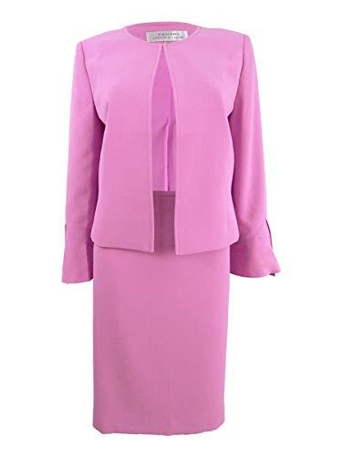 Tahari by Arthur S. Levine Crepe Tulip Sleeve Open Front Jacket Skirt Suit Peony Pink (Petite)