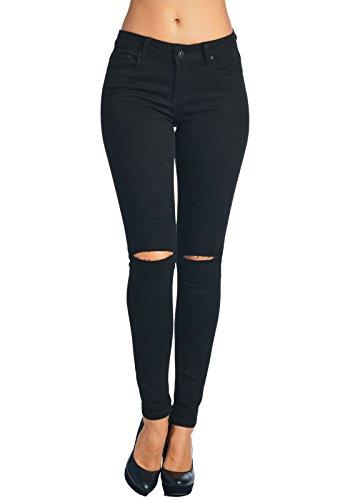 Vialumi Damen Skinny Jeans Distressed Ripped - viele Styles, Damen, Black 6001, 11 -
