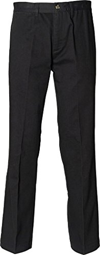 Henbury neue Teflon-beschichtete Flat Front Relaxed Chino Herren Hosen 30-44 Größe Schwarz - Schwarz