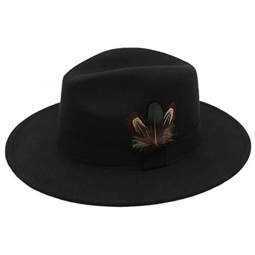 Sandy Cowper Herbst Und Winter Frauen Fedora Hut Sombrero Haariges Kopftuch Wollmütze Sonnenschirm Jungen Hüte Papa Hut (Farbe : Schwarz, Größe : 56-58CM)
