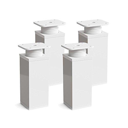 Design-Möbelfüße, 4er Set, höhenverstellbar | Vierkant-Profil: 40 x 40 mm | Sossai MFV1-WH | Farbe: Weiß | Höhe: 80mm (+20mm) | Material: Aluminium | Holzschrauben inklusive
