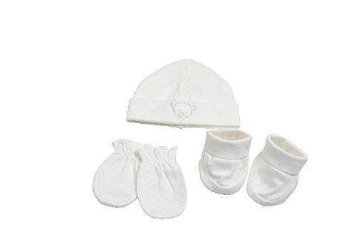 KING BEAR - Set 3 pièces naissance en coton avec bonnet chaussons et moufles. Testé et approuvé pour le confort et la sécurité de l'enfant par des laboratoires reconnus