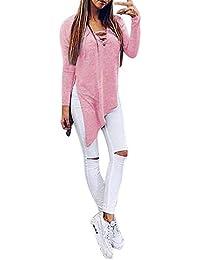 Mangas Largas de Las Mujeres Camisa Bicolor de Color Puro Vendaje Irregular Tops Blusa Suelta ❤