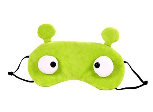 Cute Big Eye Sleeping Eye Mask & Blindfold with Removeable Ice Bag Relieves Insomnia and Stress Green by AKEBA