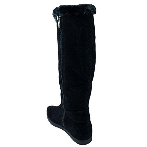 Bottes femme noires fourrées en suédine zip décoratif argenté forme compensée- Noir