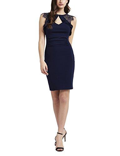Lipsy Frauen Bodycon-Kleid Mit Volants Normale Passform Blau 36 (Paisley-korsett)