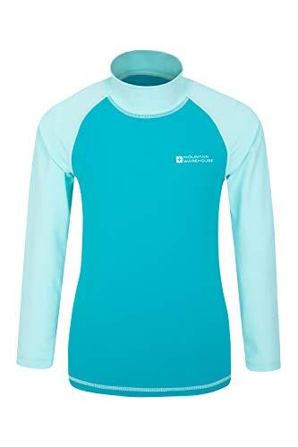 Mountain Warehouse Badeshirt für Kinder - Schwimmshirt mit UV-Schutz, Schnelltrocknendes Rash Guard Stretch, Langarmshirt für Kinder, Flache Nähte Blaugrün 140 (9-10 Jahre)