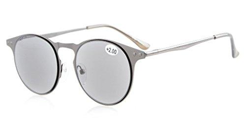 Eyekepper Sonne Leser Qualität Metall Rund-Rahmen Federscharnier Tempel Lesung Sonnenbrille Voll Lesen Linse Grau +3.5
