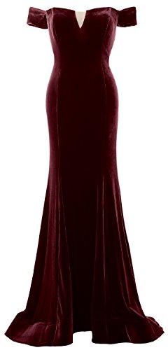 MACloth Women Mermaid Off Shoulder Prom Gown Elegant Velvet Formal Evening Dress (34, Weinrot) (Velvet Kleid Pleated)