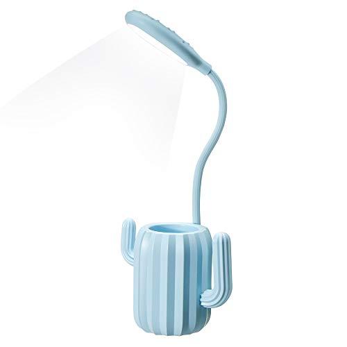 VADIV Lámpara LED Escritorio Diseño Cactus con 3 Niveles de Luminosidad Protección ocular,Control Táctil,USB de Carga para Sala de Estar o Estudio - Azul
