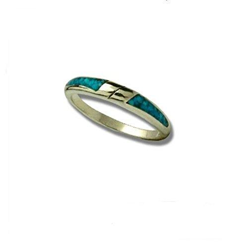 Indianerschmuck Chip Inlay Ring Türkis Navajo Design