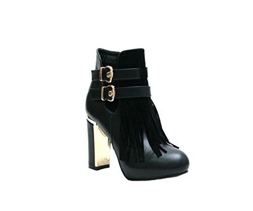 JustGlam-Scarpe donna Stivaletti con frange in camoscio e tacco a blocco / Nero 37