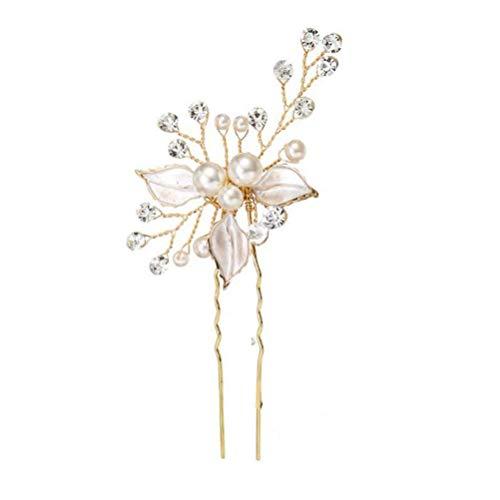 Neborn Perle Strass Haarnadeln Hochzeit Haar Zubehör Silber Perle Haarnadeln Blume Braut Haar Pins Haar Ornamente Haar Stick (Golden) - Pins Braut-haar