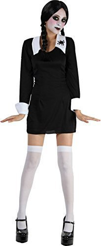 Weihnachten Verkleidung Kostümparty Addams Familie Mädchen Kostüm Komplettes Outfit 10-14 Uk (Addams Family Mädchen Halloween Kostüm)