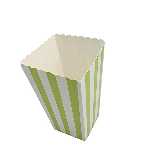 Popcorn-Box, gestreifte Popcorn-Boxen, Karton, Süßigkeiten-Container für Karneval, Party, Film, Fiesta, Superbowl, 24 Stück, grün, 24 (Supplies Superbowl Party)
