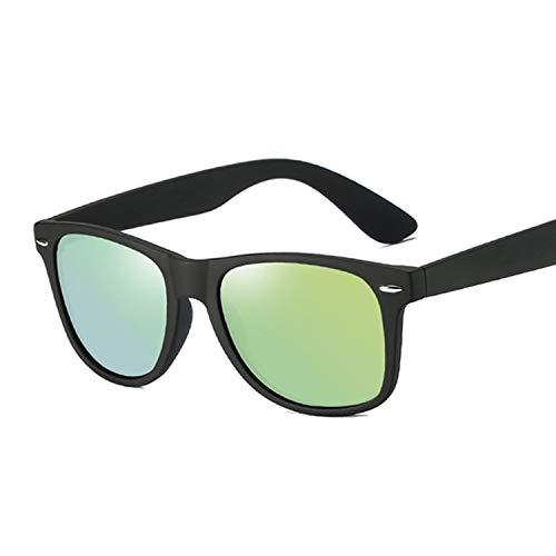 YUHANGH Männer Polarisierte Sonnenbrille Klassische Männer Retro Rivet Shades Spiegel Beschichtung Punkte Schwarzer Rahmen Männliche Sonnenbrille