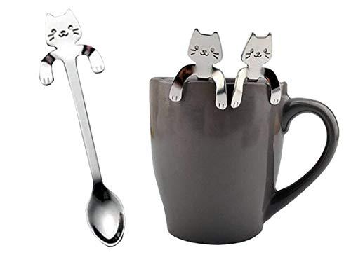 Bobopai 1 Piece Cute Cat Spoon Long Handle Spoons Flatware Drinking Tools Kitchen Gadget Scoop Wall Plate