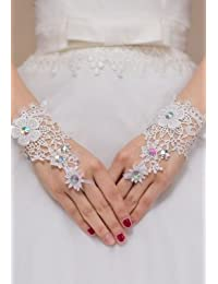 Sexy women white lace floral pattern and diamante wrist length fingerless gloves bridal hen night costume clubwear wedding