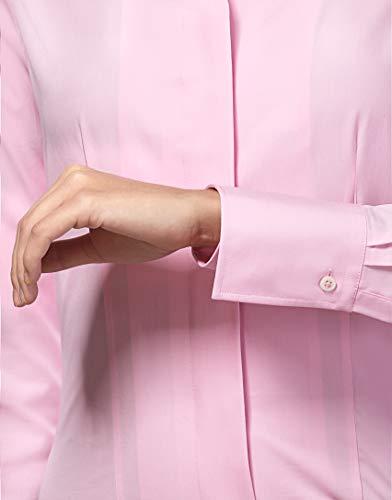 Блузки и туники Vincenzo Boretti Damen Bluse mit Kelchkragen leicht tailliert 100% Baumwolle bügelleicht Langarm Hemdbluse mit Stehkragen elegant