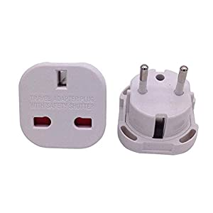 3x HQ UK to European Plug Travel Adaptors EU TRAVEL PLUG EUROPE with ZIP seal carry bag Colour of Plug may vary - by eStore