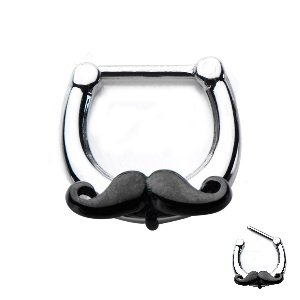Septum Clicker mit Schnauzer - Mustache Septumclicker - Segmentring mit klappbarem Segment - Klicker Piercing Ring in Silber aus Chirurgenstahl (Edelstahl) (Schnurrbart Brust)