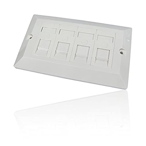 CDL Micro Wall Face Plate RJ45 Cat6 Gigabit Network 10/100/1000 Faceplate Quad/4 Way/Gang - White