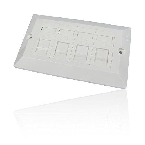 CDL Micro-Presa a muro ethernet RJ45 Cat6 Gigabit 10/100/1000/Quad/frontale Way 4 Gang, colore: (Faceplate Quad)