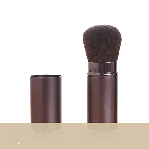 CGQGrand pinceau fard à joues télescopique de 30 mm portable avec couvercle brosse de maquillage en poudre libre, brun