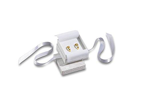 Preisvergleich Produktbild Trauringetui Eheringe Box Hochwertige Trauringe Ring-Schachtel Ringbox für Hochzeit Valentinstag Verlobungsring Schlaufe Weiß
