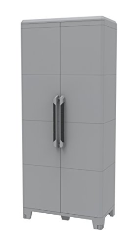 Terry transforming modular 4, armadio alto multifunzione in plastica a due porte, grigio, 78 x 43.6 x 184.4 cm