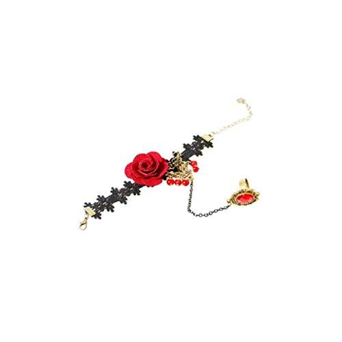 Von Verschiedene Arten Kostüm Vampir - Ruijanjy Handgemachte Retro-Schwarze Spitze Vampir-Sklaven-Armband mit Stoffe Blumen und roten Harz Gotik Armband für Frauen und Mädchen