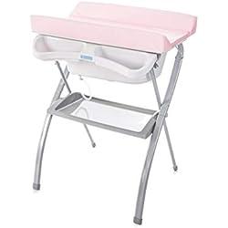 Bañera alta Spalsh ZY Baby - compacta con cambiador, baño para bebes, asiento anatómico - Zippy (Rosa)