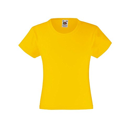 Fruit of the Loom Value Weight T' 61-005-0 - Camiseta para chica amarillo Sunflower Talla:104cm