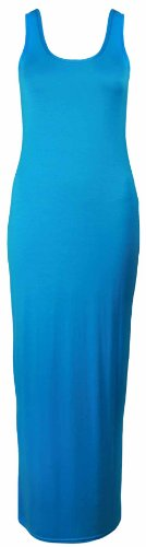 Ladies New Plain Sleeveless Full Length Round Scoop Neck Womens Summer Long Vest Stretch Maxi Dress Turquoise Size 8 10
