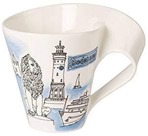 Villeroy & Boch Cities of the World Kaffeebecher Bodensee, 300 ml, Premium Porzellan, Weiß/Bunt