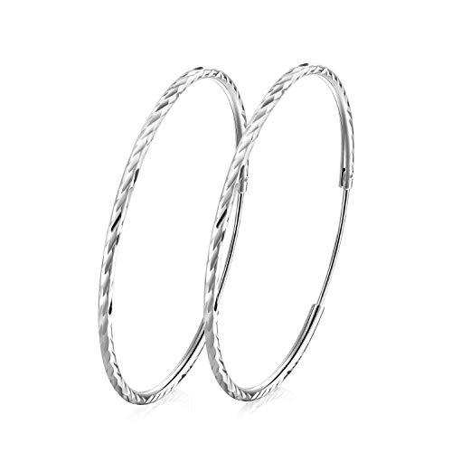 T400 jewelers orecchini cerchio argento sterling 925 diamond cut creoli per donna sleeper, diametro: 25-65mm