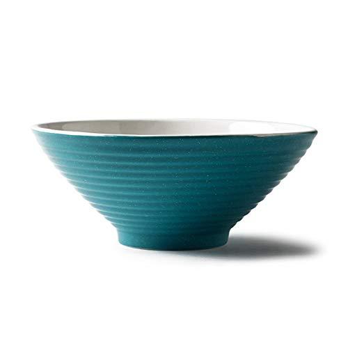 Bol Mats couple japonais ménage simple seau bol bol en céramique ramen bol bol de la soupe bol vaisselle - 5 couleurs, 2 tailles (Couleur : Bleu, taille : 17.5 * 7 * 6.5cm)