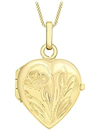 Carissima Gold 9ct Yellow Gold Heart Flower and Leaf Locket Pendant on Curb Chain Necklace of 46cm/18""
