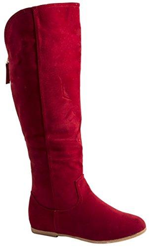 Elara Damen Stiefel | Warm Gefüttert | Bequeme Langschaft Boots | Flache Zipper QS195-A-Rot-38 (Rote Stiefel Winter)