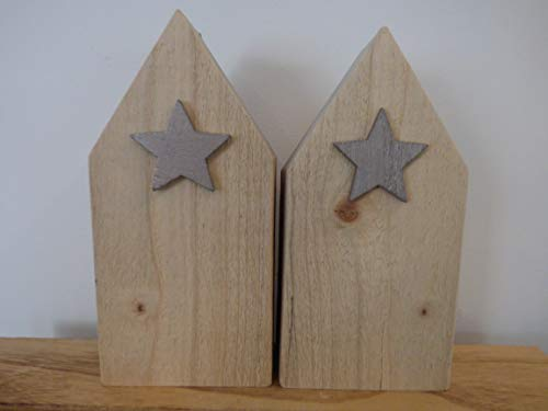 2 Holzhäuschen groß Holzhaus Upcycling nachhaltig Shabby Stern Holzstern natur skandinavisch schwedisch Design Deko Holz puristisch