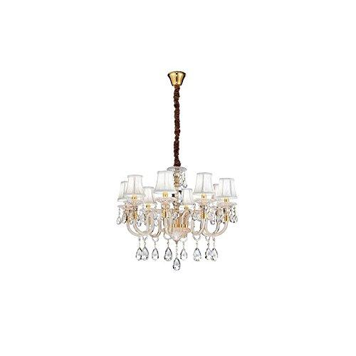 Lampadario ad 8 luci design classico oro con cristalli e paralumi bianchi