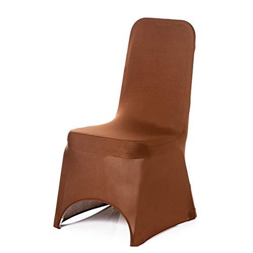 Chocolat Housse de chaise en Lycra Spandex pour mariage Banquet fête d'anniversaire événements salle à manger élastique Arcade avant par Trimming Shop, Tissu, chocolat, Lot de 10